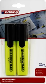 Markeerstift edding 345 2-5mm blister à 2 stuks geel