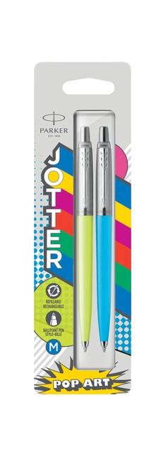 Balpen Parker Jotter Originals Popart 60's limegreen en skyblue