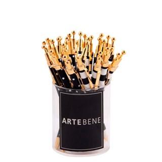 Balpen Artebene zwart-wit met gouden afwerking