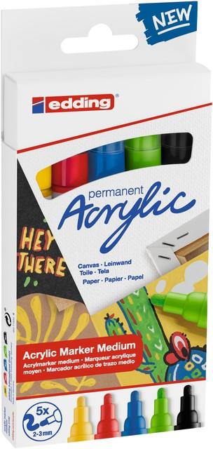 Acrylmarker edding e-5100 medium set van 5 kleuren pastel
