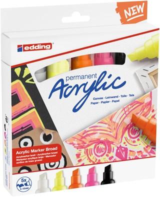 Acrylmarker edding e-5000 breed set van 5 kleuren neon