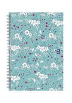 Spiraalblok Oxford Floral B5 lijn 60vel turquoise