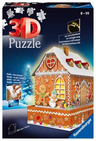 3D puzzel Ravensburger Kerst Gingerbread House Night Edition 216 stukjes