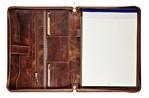 Schrijfmap Maverick Dalian mark II A4 leer met rits bruin