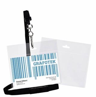 Badge 3L met koord 105x92mm bio degradable