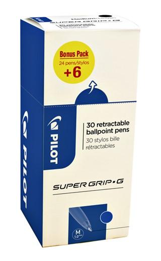 Balpen PILOT Supergrip G blauw 0.32mm valueapack à 24+6 stuks