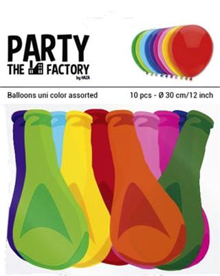 Ballon Haza uni 30cm 10 stuks assorti