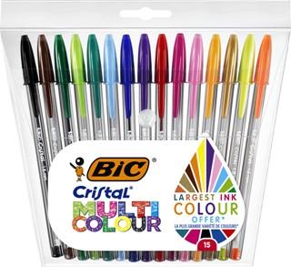 Balpen Bic Cristal multicolour etui à 15 kleuren