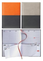 Agenda 2021 Lediberg Twin Timer medium oranje/zwart of zilvergrijs/zwart