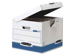 Archiefdoos Bankers Box System flip top kubus wit blauw