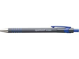 Balpen Quantore rubbergrip drukknop blauw medium