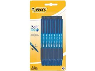 Balpen Bic Soft Feel Clic Grip blauw medium blister à 15st