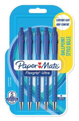 Balpen Paper Mate Flexgrip Ultra blauw medium 5 stuks bliste